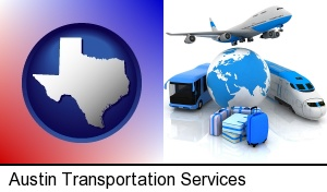 Austin, Texas - air, bus, and rail transportation services