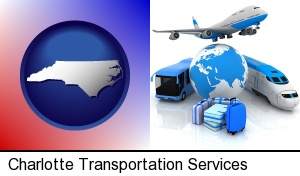Charlotte, North Carolina - air, bus, and rail transportation services