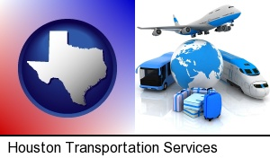 Houston, Texas - air, bus, and rail transportation services