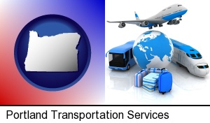 air, bus, and rail transportation services in Portland, OR