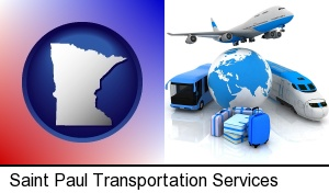 air, bus, and rail transportation services in Saint Paul, MN