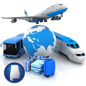 air, bus, and rail transportation services - with Alabama icon