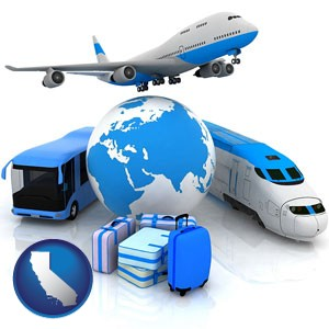 air, bus, and rail transportation services - with California icon
