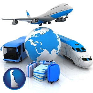 air, bus, and rail transportation services - with Delaware icon