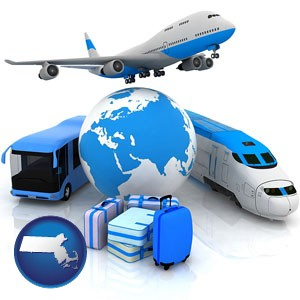 air, bus, and rail transportation services - with Massachusetts icon