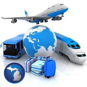 air, bus, and rail transportation services - with Michigan icon