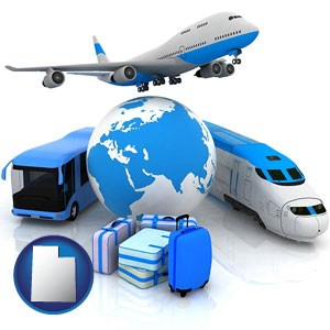 air, bus, and rail transportation services - with Utah icon